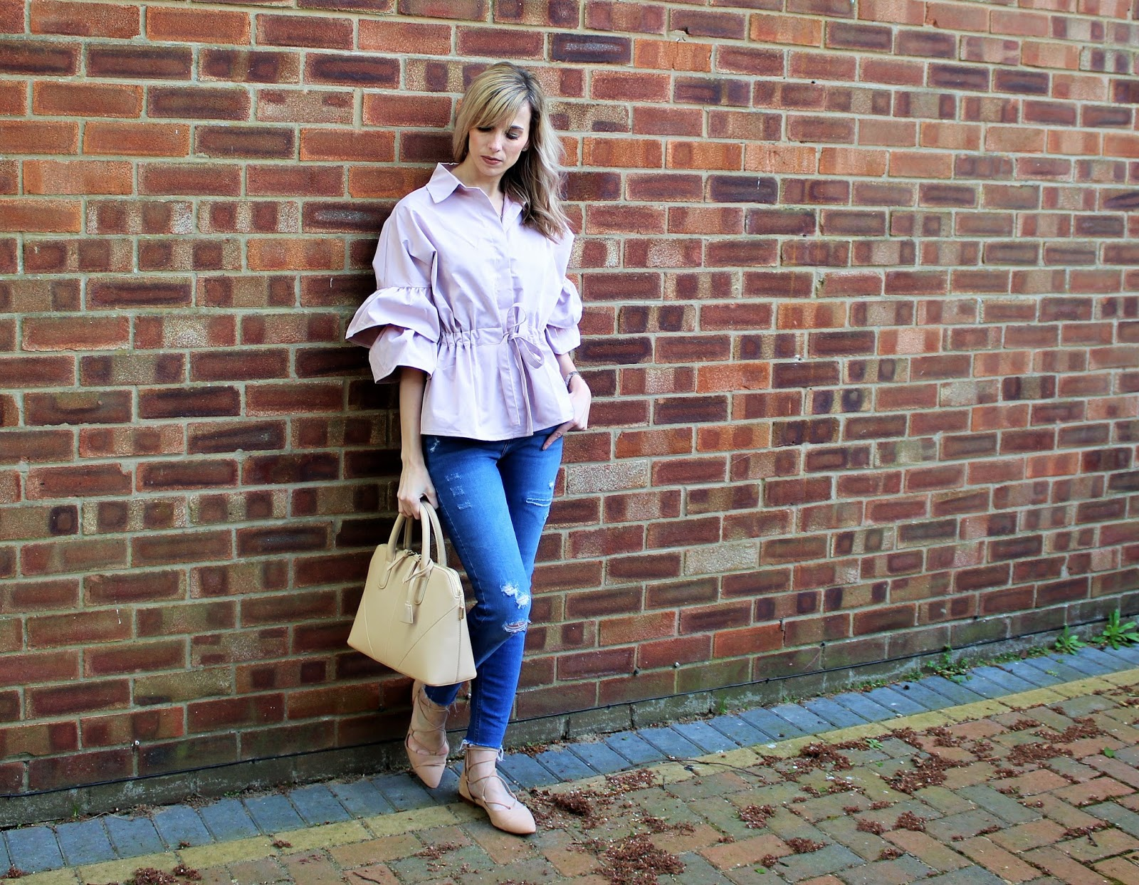OOTD featuring a ruffled Shein blouse in blush pink - 5