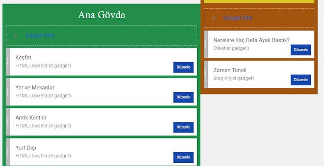Blogger Yönetim Arayüzüne Giriş, Düzen Bölümü, Gadget Ekle, Düzenle