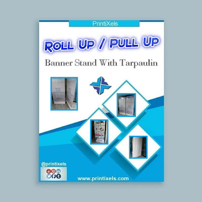 Roll Up / Pull Up Banner Stand With Tarpaulin