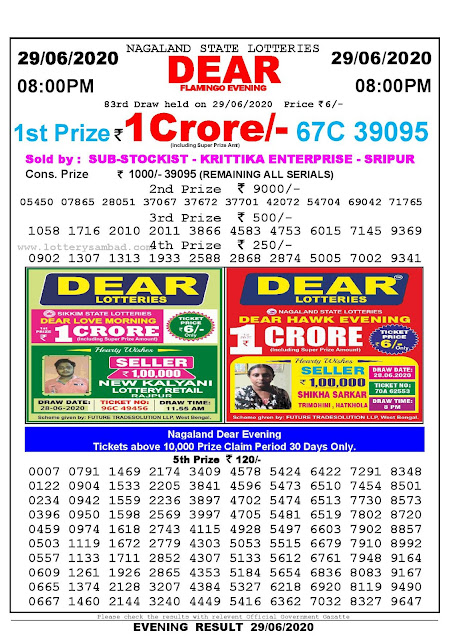 Nagaland State Lottery Sambad 29-06-2020 Today Result 8 PM