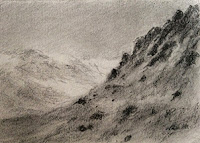 Graphite drawing of a landscape by Manju Panchal in small sketch book