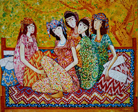 Tajikistan, Dushanbe, Farruck Negmat-Zade, Girls on the topchan, © L. Gigout, 2013