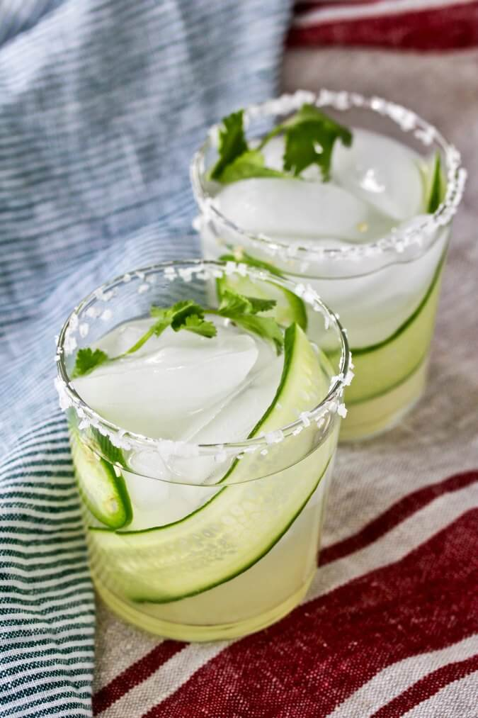 Cucumber Margarita with a jalapeño garnish