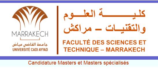 الماسترات المفتوحة بكلية العلوم والتقنيات مراكش 2020-2021