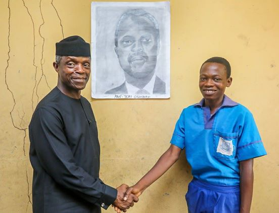 Yemi Osinbajo has praised a primary school student who displayed artistic talent