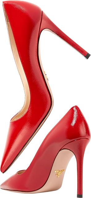 Prada red glossed textured-leather pumps #brilliantluxury