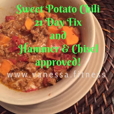 sweet potato turkey chili, 21 Day Fix recipe, autumn calabrese, hammer and chisel, vanessa.fitness, paleo recipe, gluten free, dairy free, clean eating