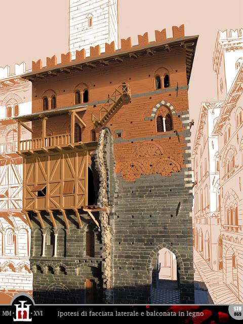 Studio della facciata laterale a partire da una foto precedente alla costruzione della balconata