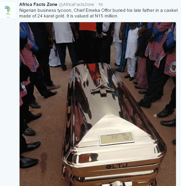 Emeka Offor buried his father in 24 karat gold casket priced N15 million - AFZ