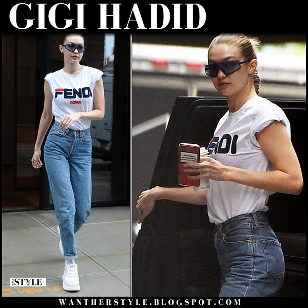 Gigi Hadid in white Fendi t-shirt, jeans and sneakers model street style may 30