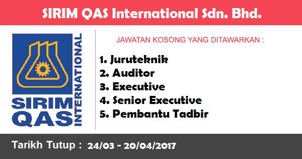 Jawatan Kosong di SIRIM QAS International Sdn. Bhd.