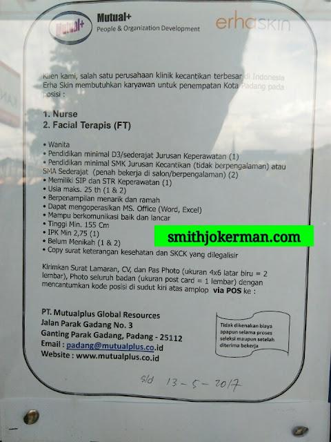 Lowongan Kerja Padang: PT. Mutualplus Global Resources Mei 2017