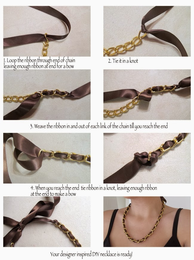 Diy Ribbon and Chain Necklace