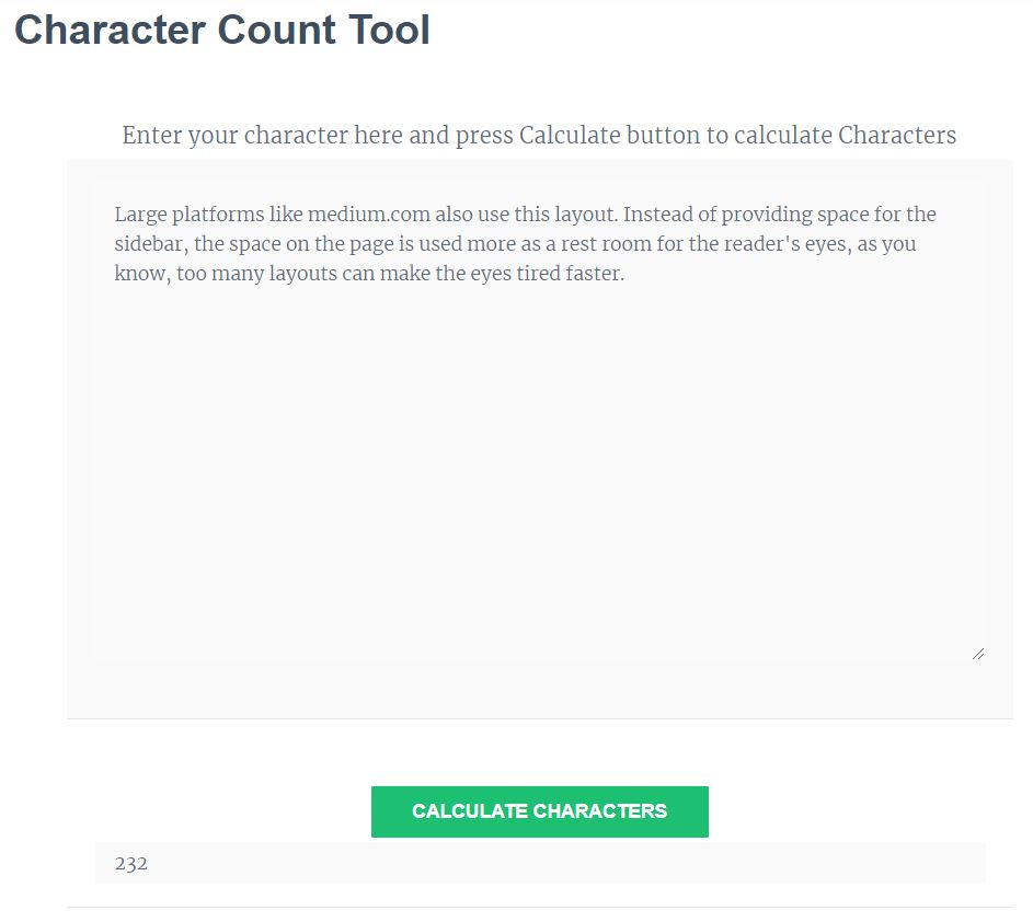 Character Counter / Letter Count / Characters Calculator
