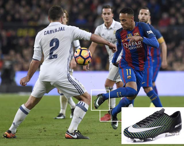Neymar dejó los Nike Hypervenom para usar los Mercurial en El Clásico