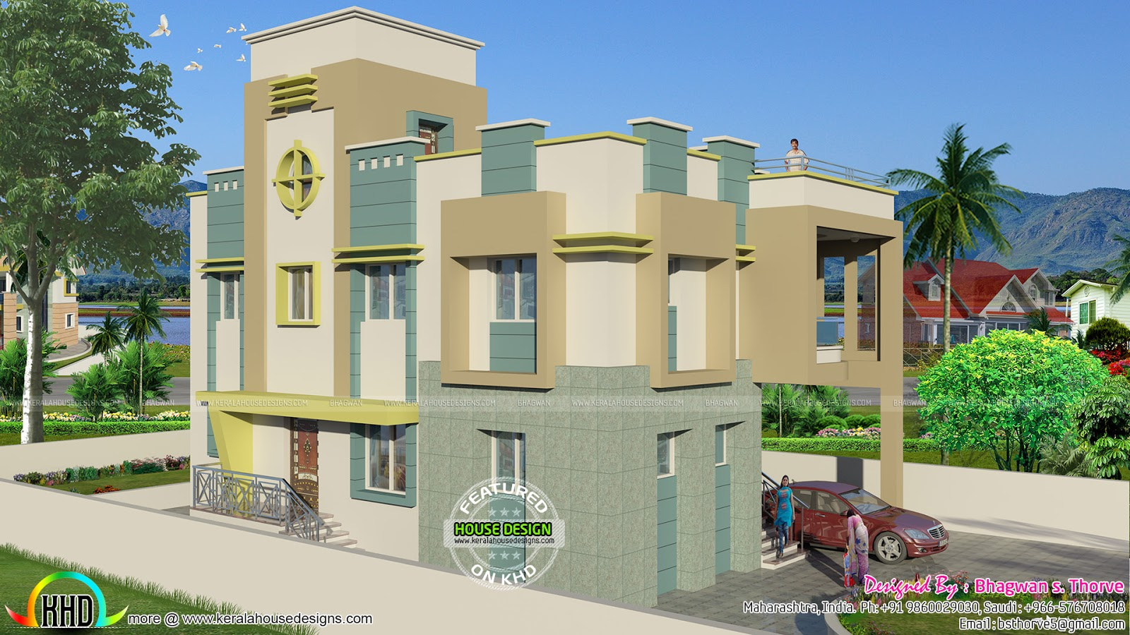 Ground Floor Side Elevation : Free floor plan of sq ft home kerala design