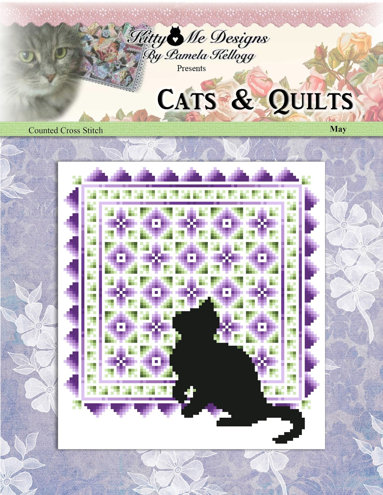 Kitty And Me Designs: Cats And Quilt May Counted Cross Stitch Pattern