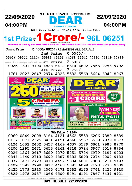 Sikkim State Lottery Sambad 22-09-2020 Today Result 4 PM
