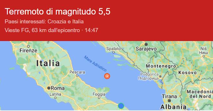 Forte scossa 5.5 nell'Adriatico: gente in strada a Pescara