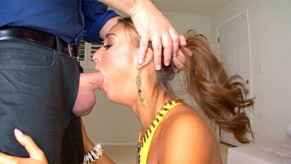 Sexy and cute girl gives blowjob -