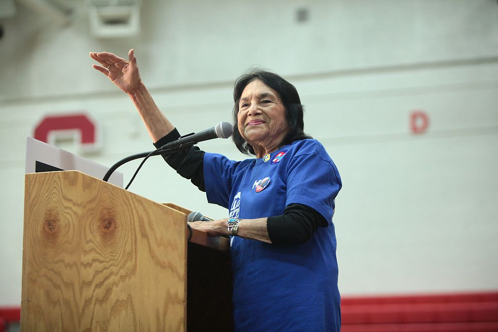 Dolores Huerta speaking at a campaign rally at Central High School in Phoenix, Arizona.