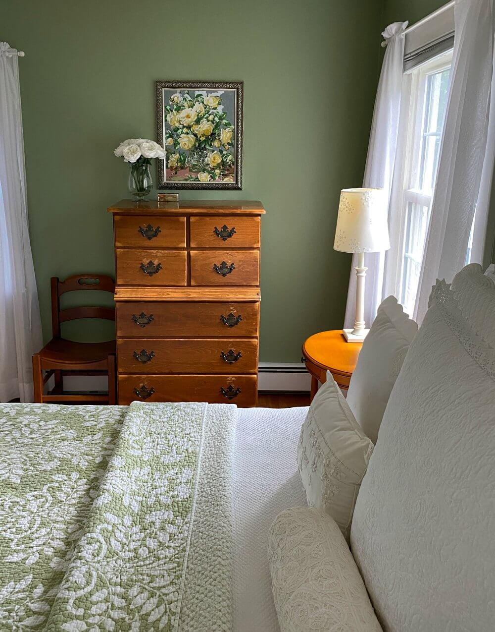 Green and White Cottage Style Bedroom