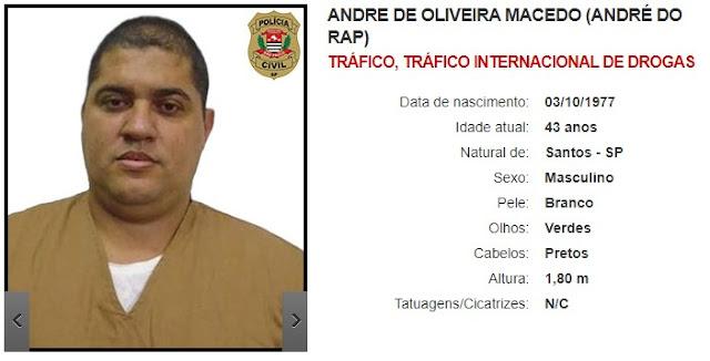 André de Oliveira MAcedo (André do Rap) - Tráfico de Drogas