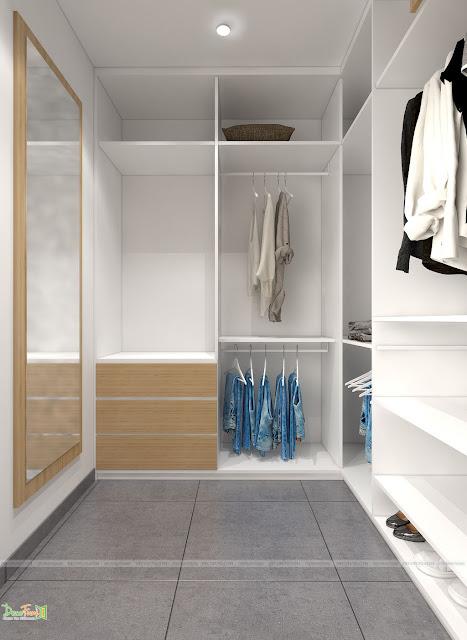 Bố trí phía trong tủ quần áo - Thiết kế và thi công nội thất căn hộ chung cư Officetel