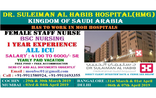 DIRECT INTERVIEW FOR STAFF NURSES For DR. SULEIMAN AL HABIB HOSPITAL (HMG) ,Kingdom of Saudi Arabia