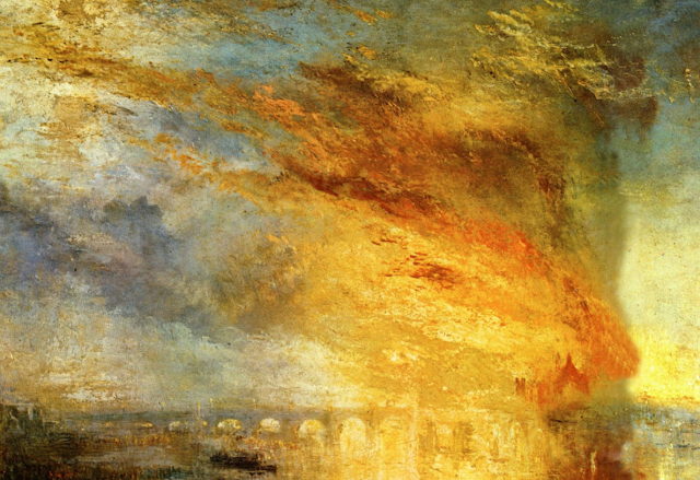Detail of a painting of a burning building outside a city