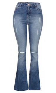calça feminina flare de cós alto