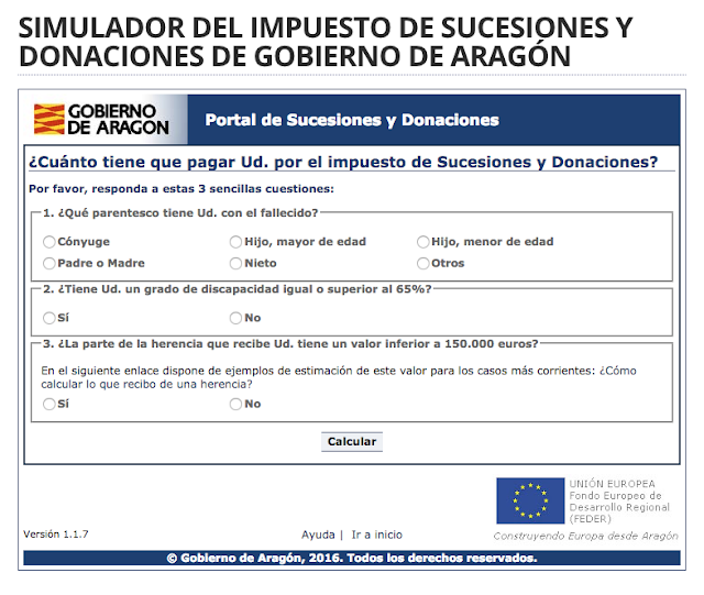Cálculo impuesto sucesiones Aragon 2017