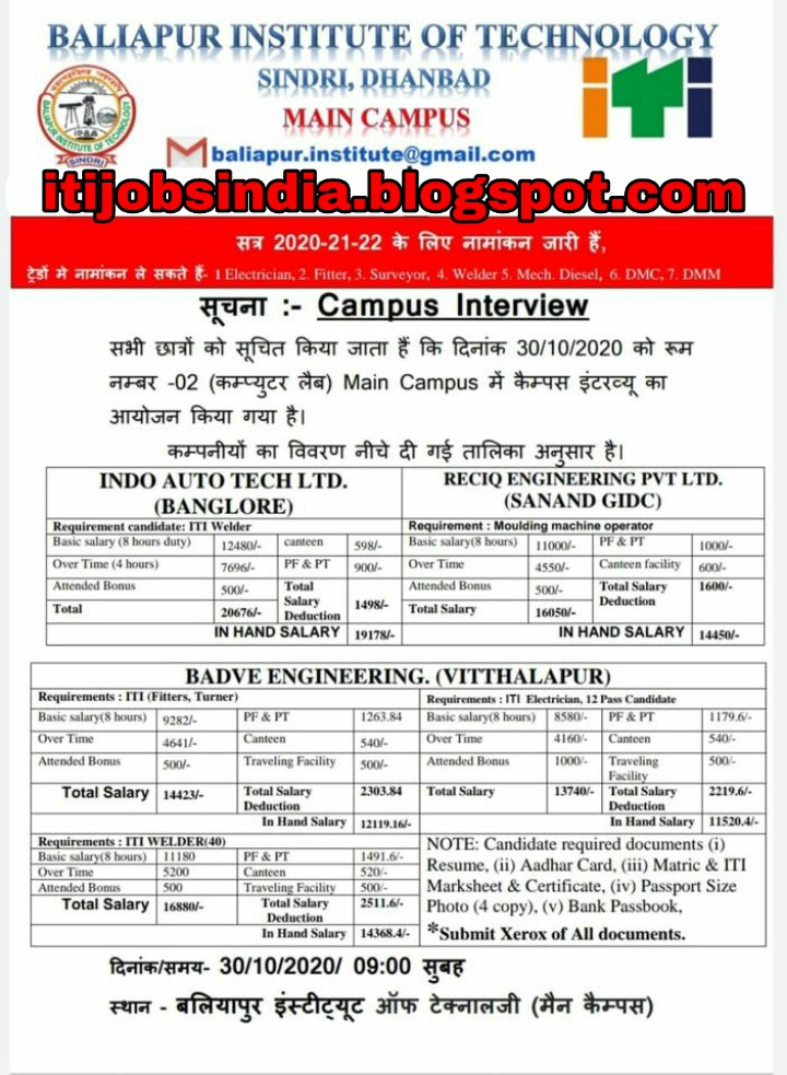 ITI Job Campus Placement On 30th Oct 2020 In Baliapur Institute of Technology Sindri Dhanbad, Jharkhand