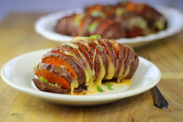 cheesy hasselback sweet potatoes