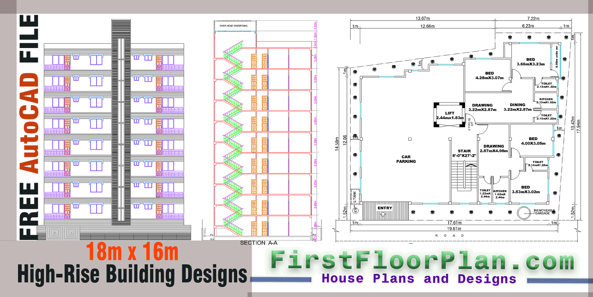 High Rise Building Designs and plans AutoCAD dwg File