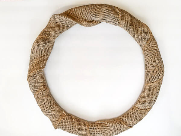 wrap wire base with burlap ribbon