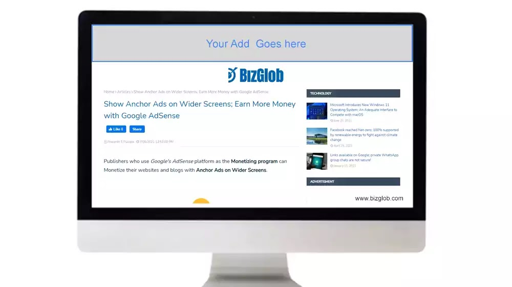 Google AdSense Anchor Ads on Wider Screens