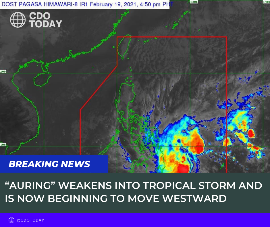 """""""AURING"""" WEAKENS INTO TROPICAL STORM AND IS NOW BEGINNING TO MOVE WESTWARD."""