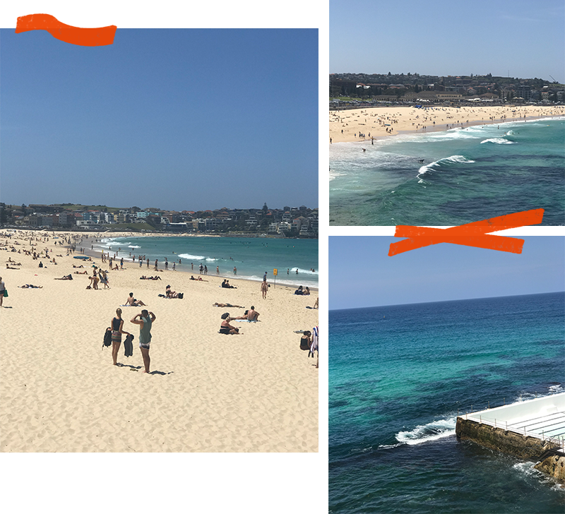 Scenic views of Bondi Beach, Sydney, Australia