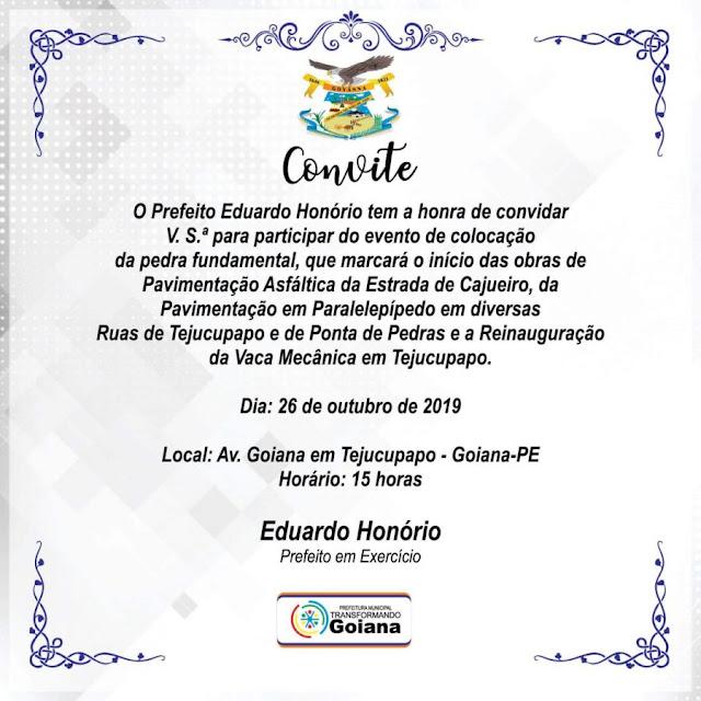 Solenidade marcará início de realizações históricas nos Distritos de Goiana, no sábado (26/10)