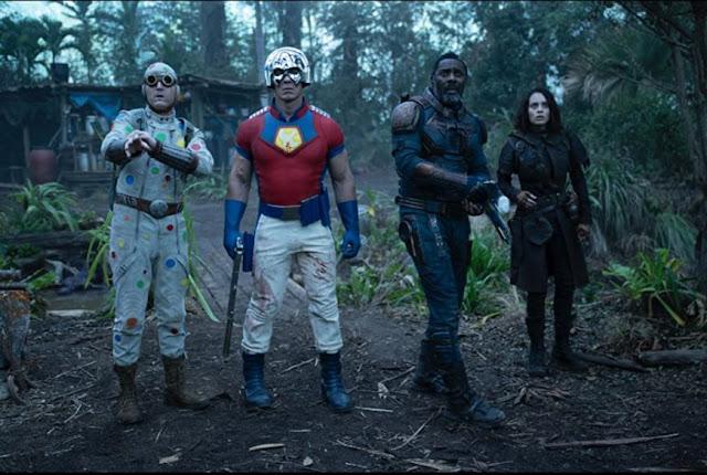 David Dastmalchian, John Cena, Idris Elba, Daniela Melchior. Foto de Warner Bros.