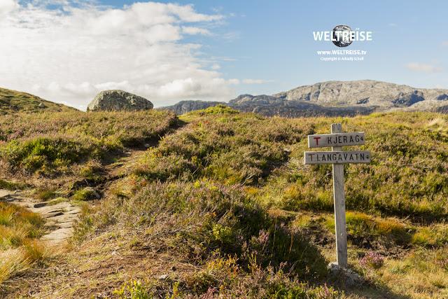 Wanderweg zum Kjeragbolten in Norwegen. WELTREISE