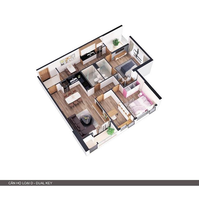 Phối cảnh 3D căn hộ loại D 2 trong 1 có 3 phòng ngủ + 2 bếp
