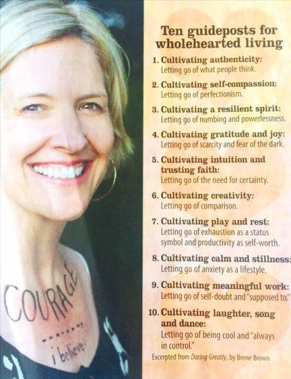 Brene Brown Daring Greatly 10 Guideposts for Wholehearted Living