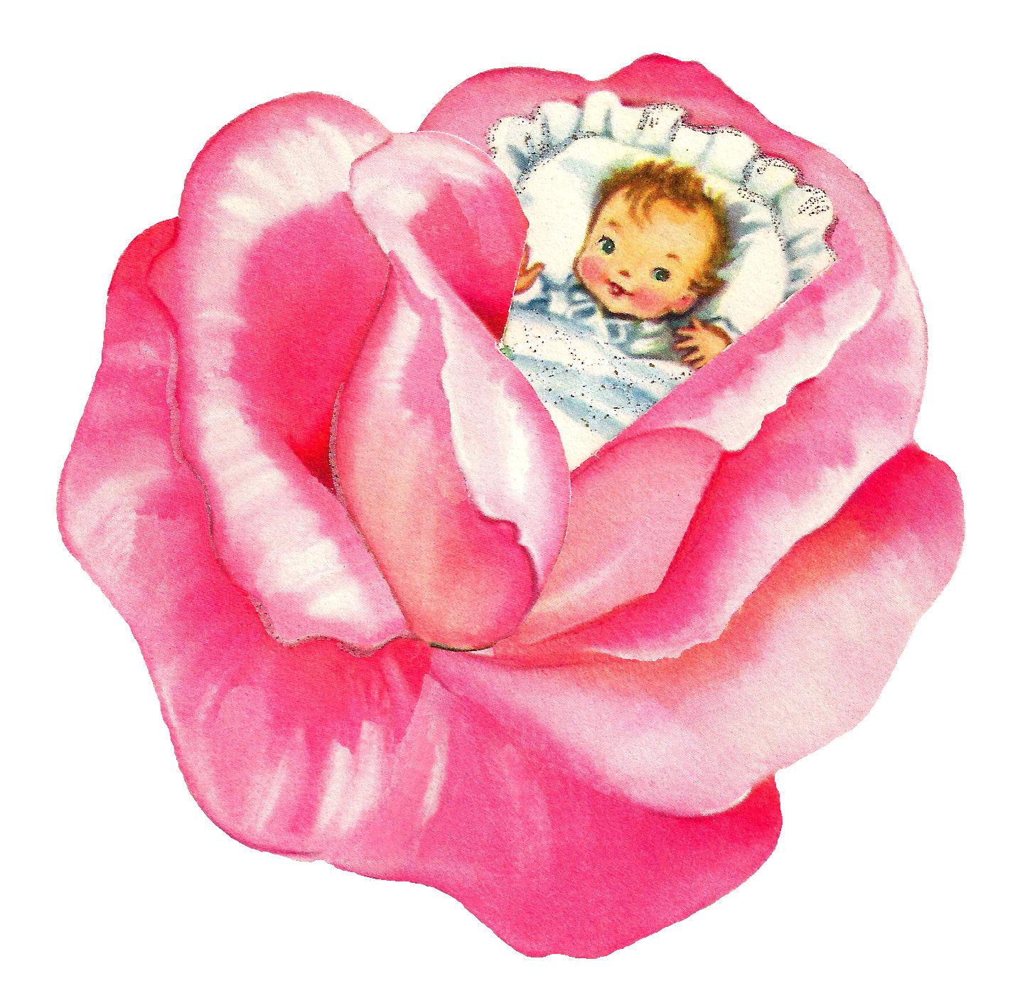 Antique Images: Baby Girl Pink Rose Clip Art Flower ...