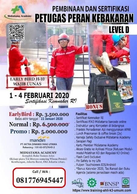 Petugas Damkar Klas D tgl.1-4 Februari 2020 di Jakarta