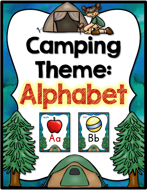 CAMPING THEME, CAMPING ALPHABET SIGNS, ALPHABET POSTERS