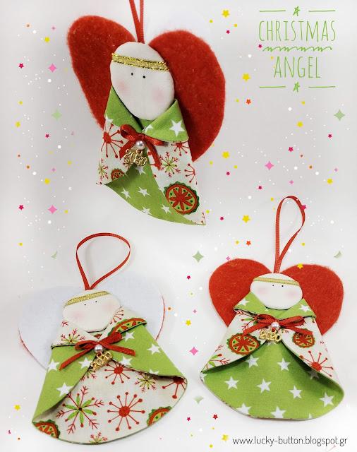 """Little Christmas angel"" Χριστουγεννιάτικο αγγελούδι με τσόχινα φτερά υφασμάτινο στολίδι"