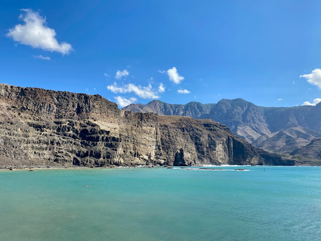 Cliffs where the Finger of God used to be, at Agaete, Gran Canaria, Spain