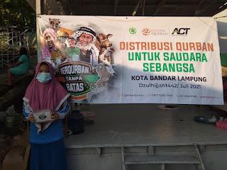 Pertamina Panjang Gandeng ACT Bandar Lampung untuk Salurkan Daging Kurban